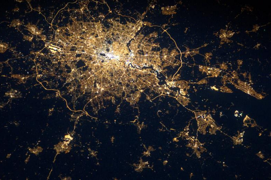 London by night from the international space station ISS, United Kingdom