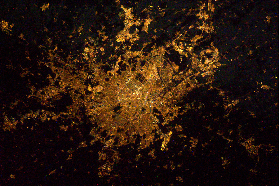 Paris at Night from the international space station ISS, France