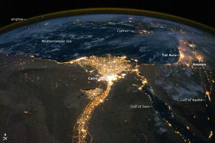 Nile at Night from the international space station ISS