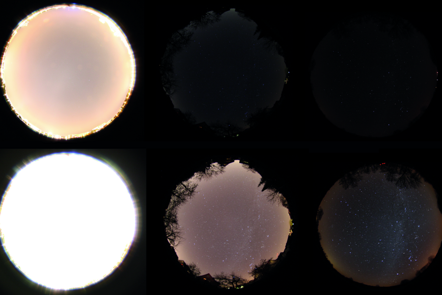 Night sky with identical exposure settings, from urban to pristine night sky