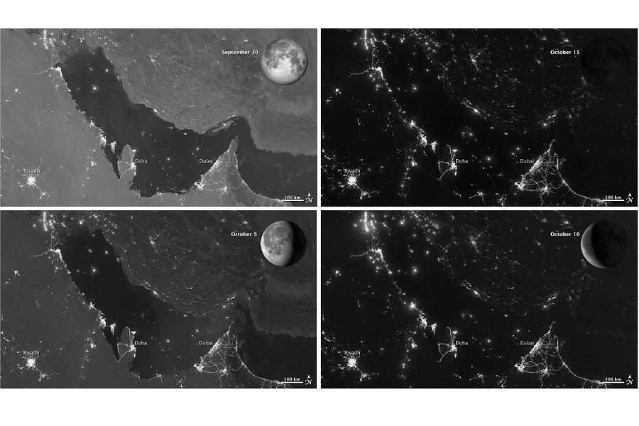 Moon Phases Over the Persian Gulf from the Suomi NPP Satellite Visible Infrared Imaging Radiometer Suite (VIIRS)