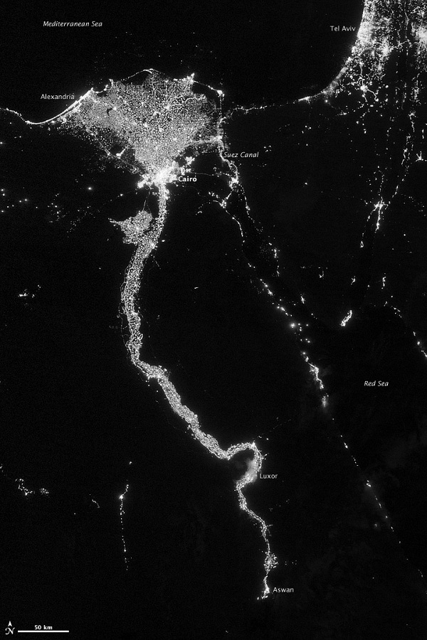 Nile at Night from the Suomi NPP Satellite Visible Infrared Imaging Radiometer Suite (VIIRS)